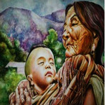 Grand Mother & Son Hand Painting