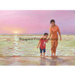 Grand Mother and Son at Chaungtha Beach