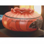 Light Red Color Painted Clay Pot (Fish)