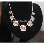 Silver Necklace with 7 Coil pendant