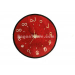 Handmade Bamboo Clock with Red Color