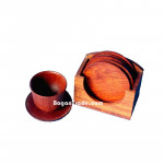 Rosewood Coaster Sets with Square Case