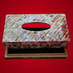 Teak Tissue Box Natural Mother Of Pearl