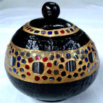 Coconut Shell Of Handmade Colorful Mosaic Design