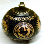 Animal and Arabesque Design  Coconut Shell Pot