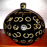 Carved Myanmar Alphabet on Coconut Shell with Hand