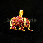 Elephant Shaped Ruby Faceted Gold Locket