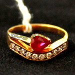 Ruby faceted with Diamond Gold Ring