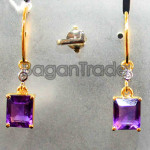Amethyst and Diamond earring with 18k gold