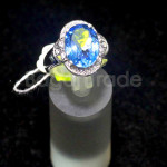 Fashionable Blue Topaz 925 Silver Ring With Zircon