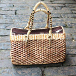 The Gray Color Hand woven Water Hyacinth Handbag