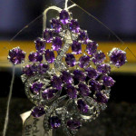 Flower Design 925 Silver Amethyst Pendant and Earr