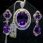 Oval Design Amethyst Pendant and Earring Set