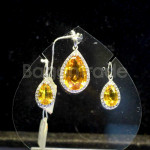 Oval shape Yellow Quartz Pendant and Earring set