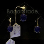 Simple design Sapphire Pendant and Earring set