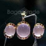 Pendant and Earring Set Rose quartz with Ruby
