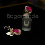 Heated Ruby with Zircon crystal Ring and Pendant