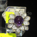 The Amethyst Ring with Flower shape Zircon crystal