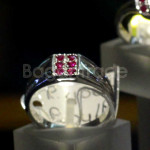 Set with Six Heated Rubies Faceted design Ring