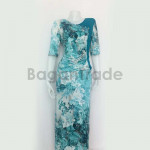 Blue-Green Color Design Myanmar Dress One Set