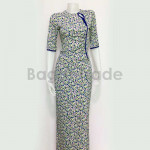 Blue Color of Myanmar Dress Middle Sleeve