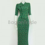 Green Color Design of Myanmar Dress Middle Sleeve