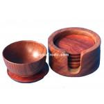 Rosewood Coaster set with Round Case