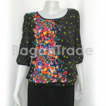 Bubble sleeve blouse for lady