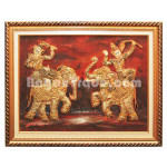 Golden Tapestry of Two Prince Dancing with Two Elephants
