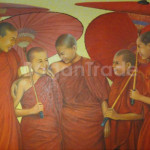 Five Monks by Artist Min Soe