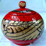 Arabesque Design Red Color Coconut Shell Crafts made in Myanmar