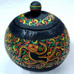 Handmade Coconut Shell Crafts with dancing monkey painting