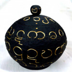 Myanmar Alphabets on Coconut Shell pot