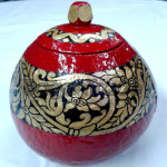Red Color Arabesque Design Coconut Shell in Myanmar