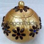 Golden Color Coconut Shell Pot with Sweetsop seed