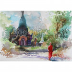 Buddhist Monk and Old Stupa in Forest