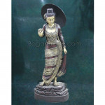 Myanmar Traditional lady with Umbrella wood sculpture carving