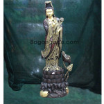 The GuanYin Angle With Lotus Design Wood Carving Sculpture