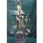 The Beautiful Lady and Lotus design wood sculpture carving