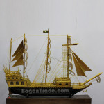 Handmade Bamboo Ship with Gold Color