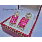 Natural Ruby or pink sapphire Earring