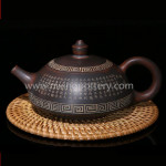 Qinzhou Nixing Teapot Chinese Ancient Buddhist Classic Hand Carving Tea Set Kongfu Tea Pots