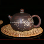 Chinese Nixing Lotus Flower Carving Xishi Pottery Tea Pot Pure Handmade Tea Ware