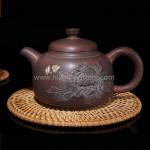 Purple Clay Chinese Nixing Peony Engraving Tea pot Pure Handmade Big Capacity Teapot